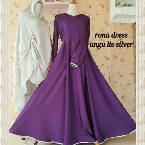 Rona Dress Ungu lis silver by AIDHA