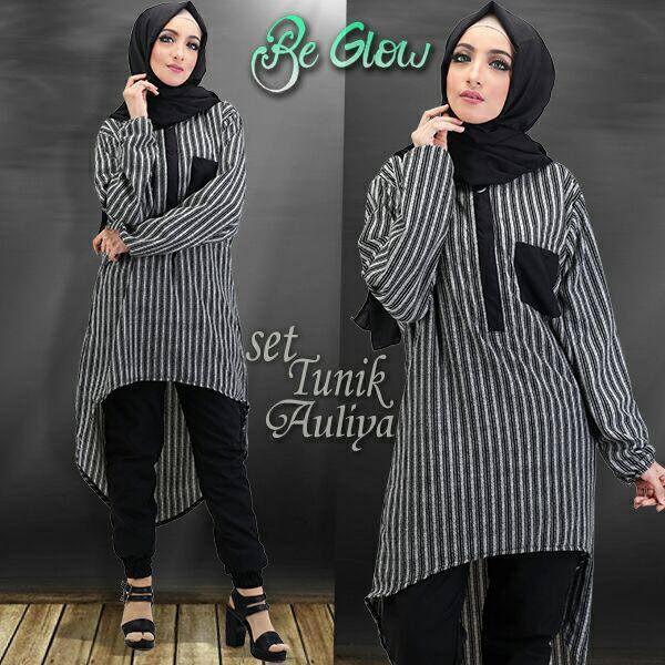 Set TUNIK AULIYA by BE GLOW HITAM