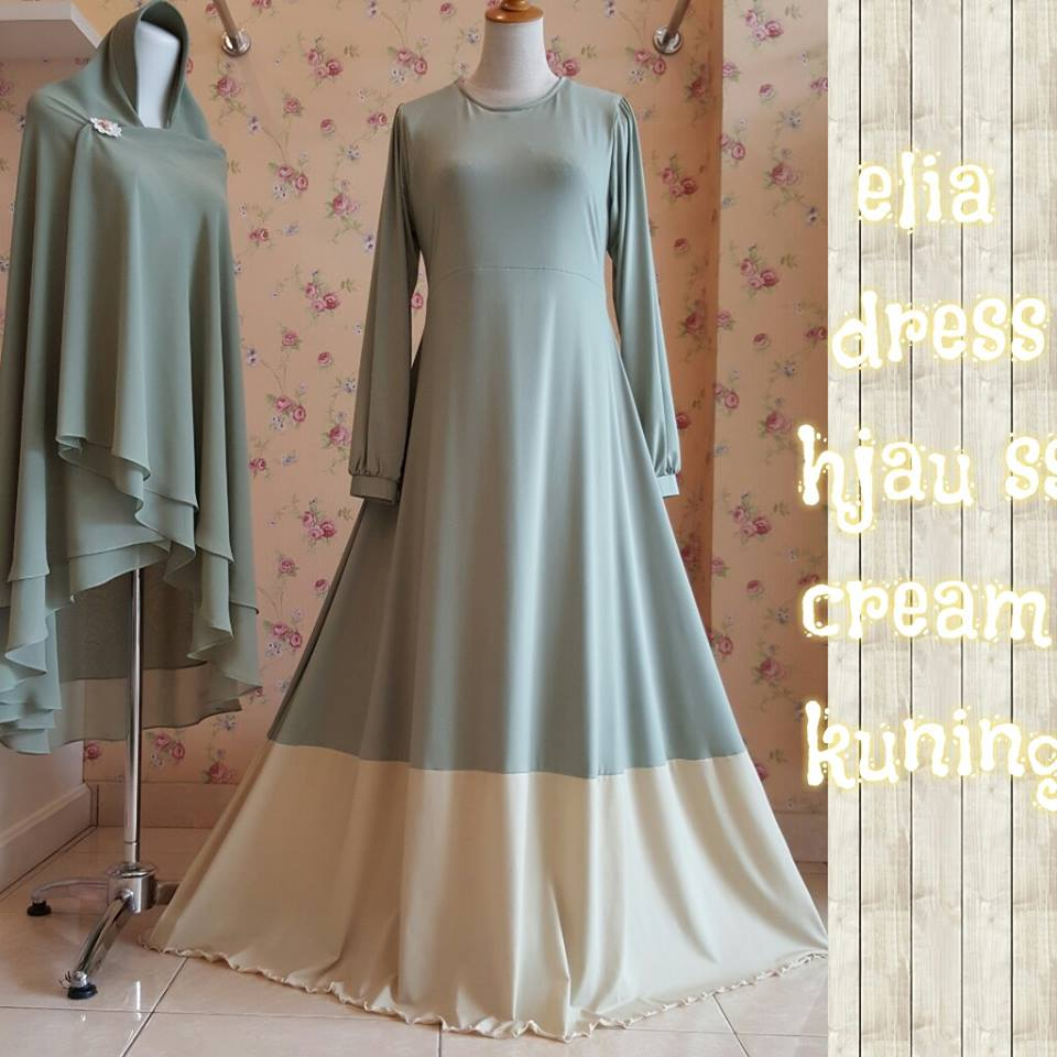 Elia dress HIJAU SUSUS CREAM KUNING