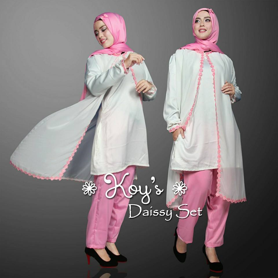 Open PO Daissy set by Koys PUTIH PINK