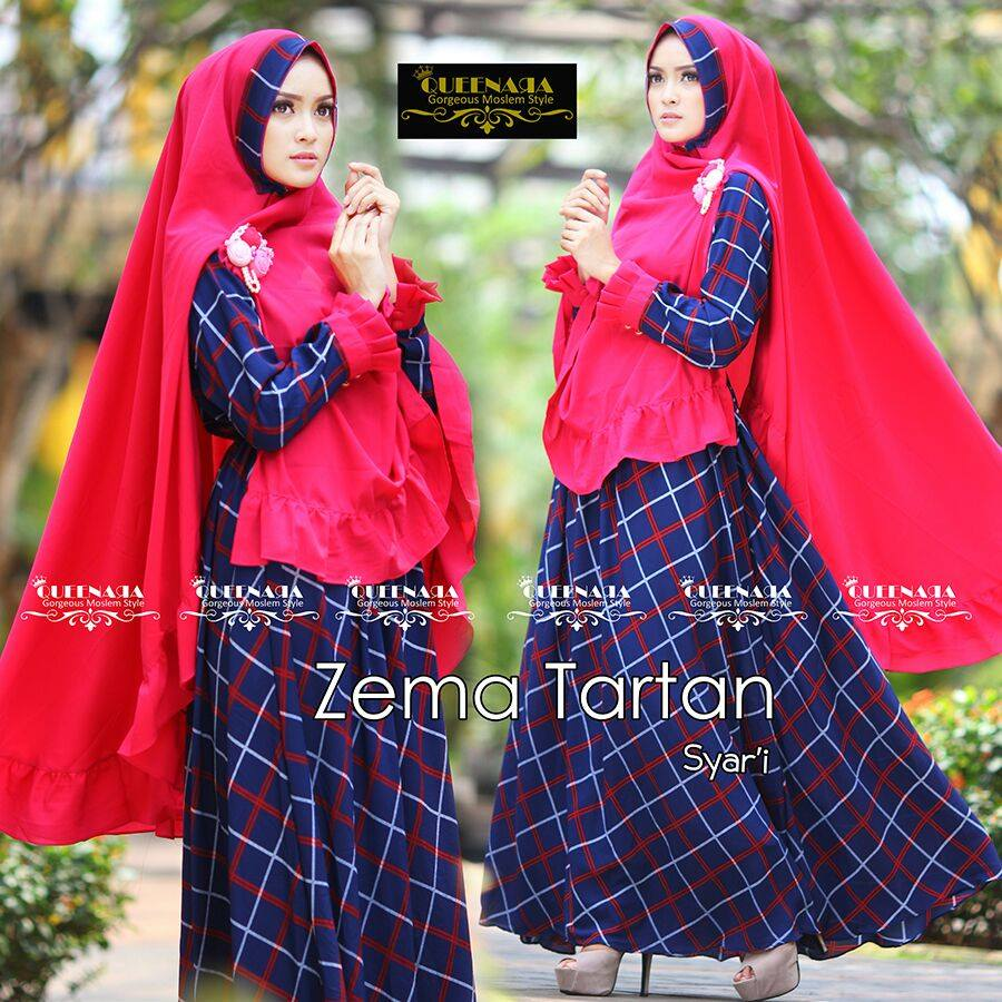 Zema Tartan Syari by Queenara NAVY