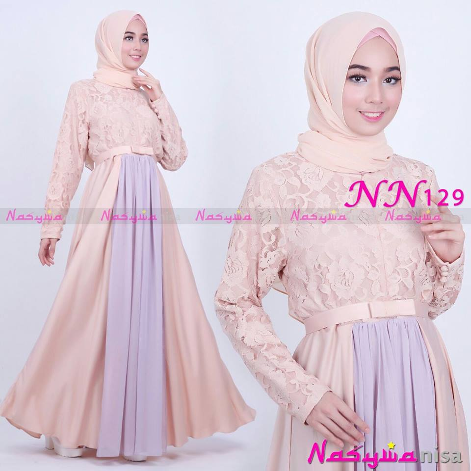 NN129 ( Dress + Pasmina ) CREAM