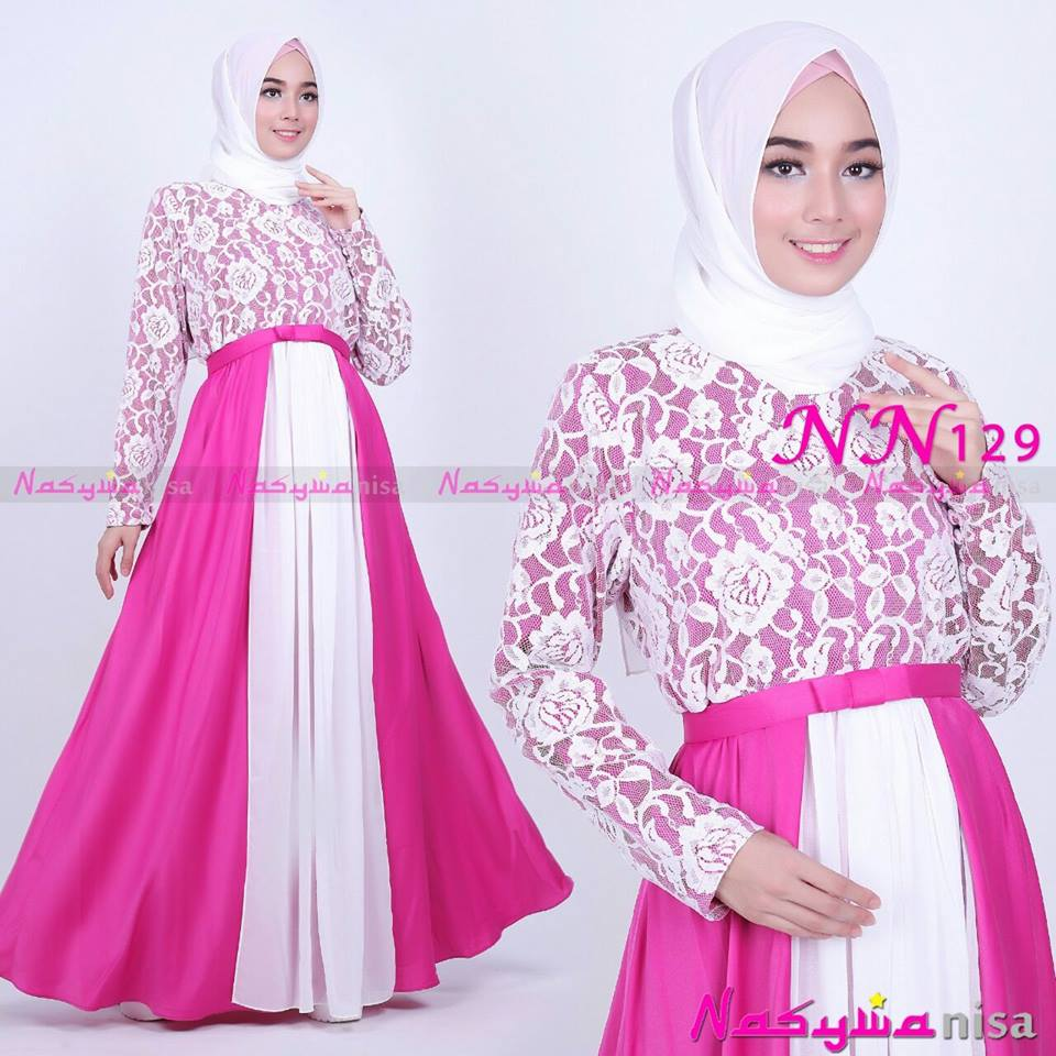 NN129 ( Dress + Pasmina ) SHOCKING PINK