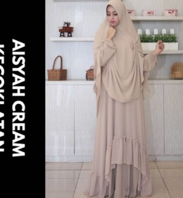 aisyah-dress-cream-kecoklatan