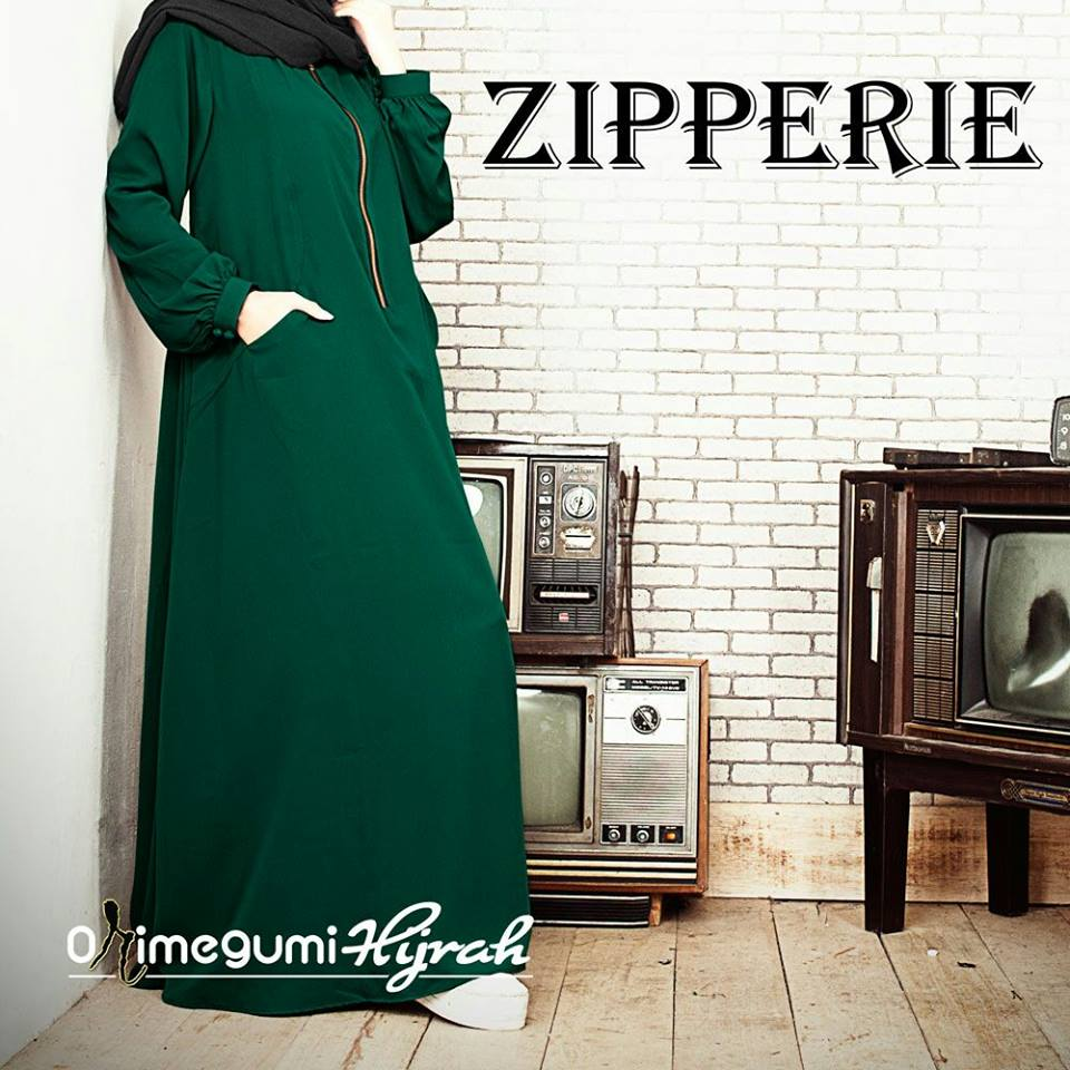 NEW ZIPPERIE DRESS GREEN BOTTLE by Orimegumi Hijrah (HOT PROMO)